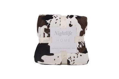 Cow Printed Coral Fleece Blanket