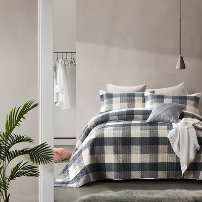 Bedsprei Luxury Check Grey