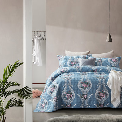 Bedsprei Retro Flower Blue