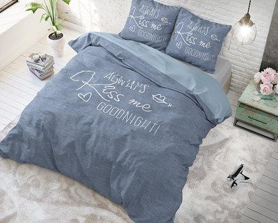 Dreamhouse Always Kiss me Blue Dekbedovertrek Katoen