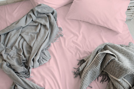 Hoeslaken Cotton Satin Roze 30 cm Hoekhoogte